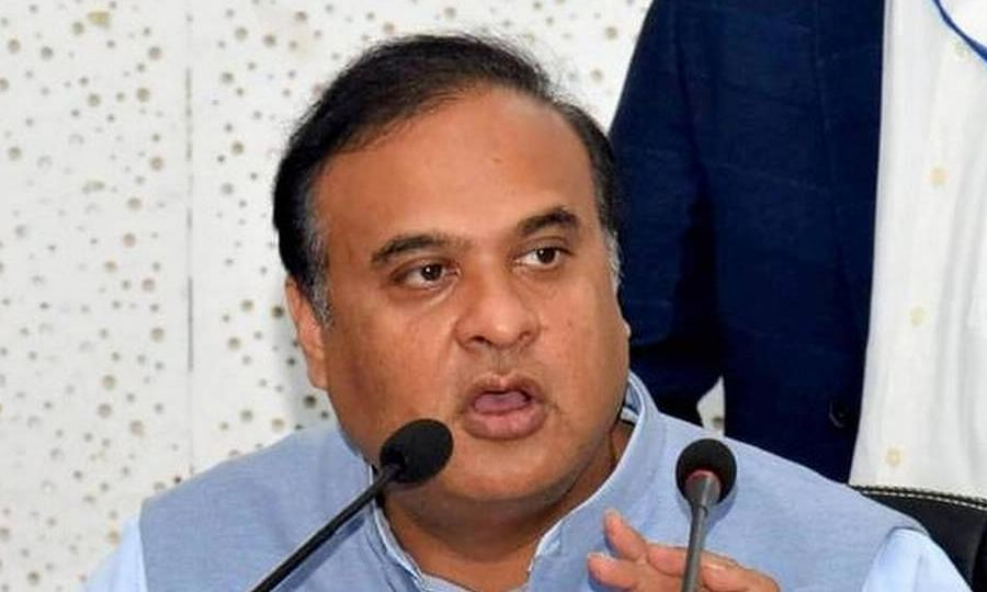 Assam health minister Himanta Biswa Sarma addressing a press conference in Guwahati on Friday