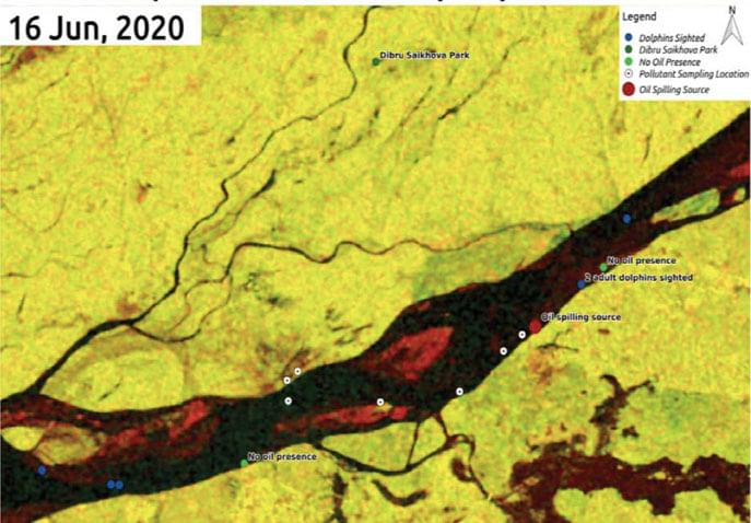In satellite images of the Maguri-Motapung wetlands, no oil pollution is visible on May 23, while oil contamination on vegetation and water is seen after the blow out on June 9.