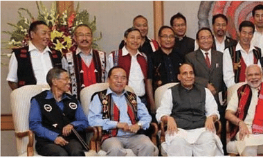Prime minister Narendra Modi along with NSCN-IM leaders in 2015