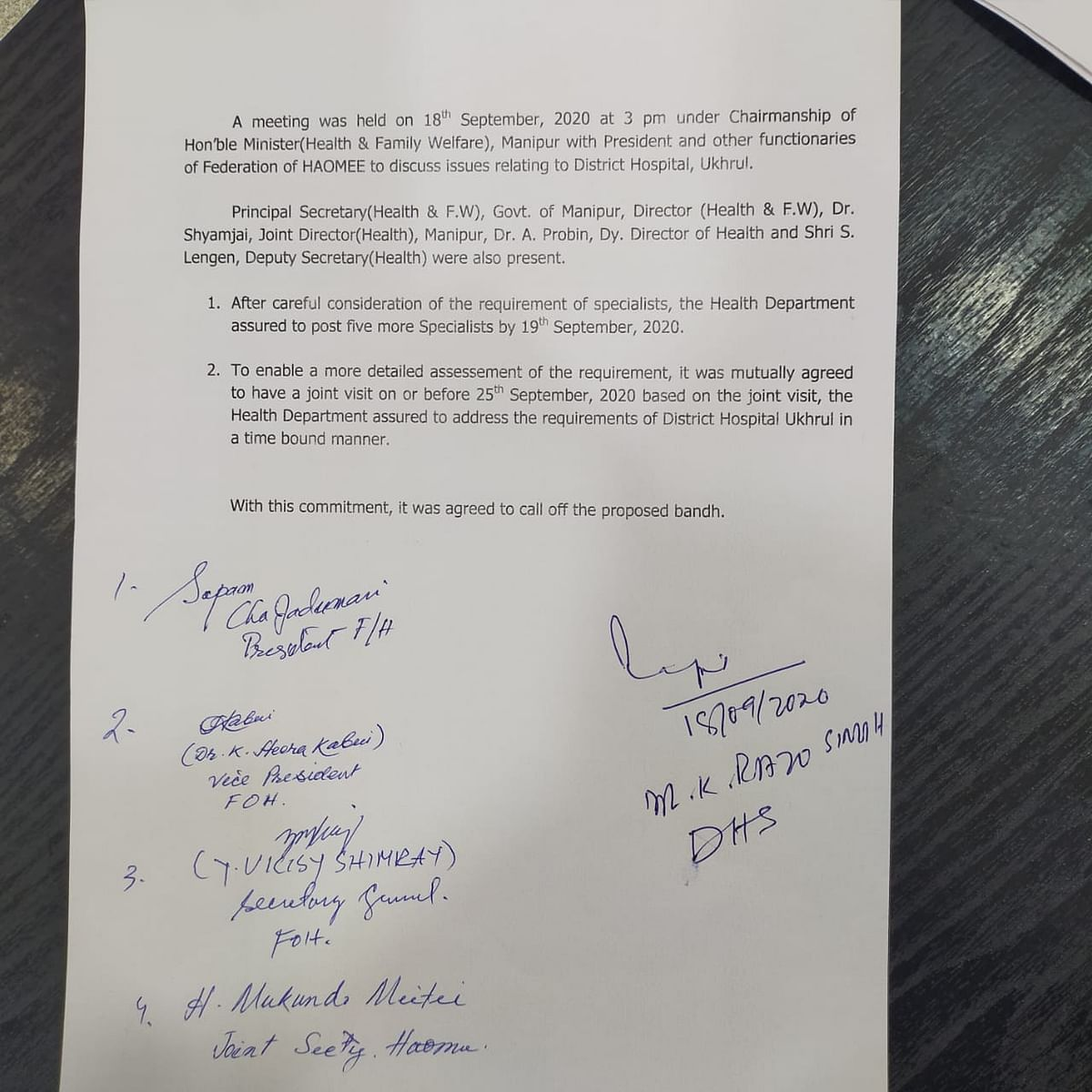 A memorumdum signed between Manipur health deaprtment and Federation of Haomee