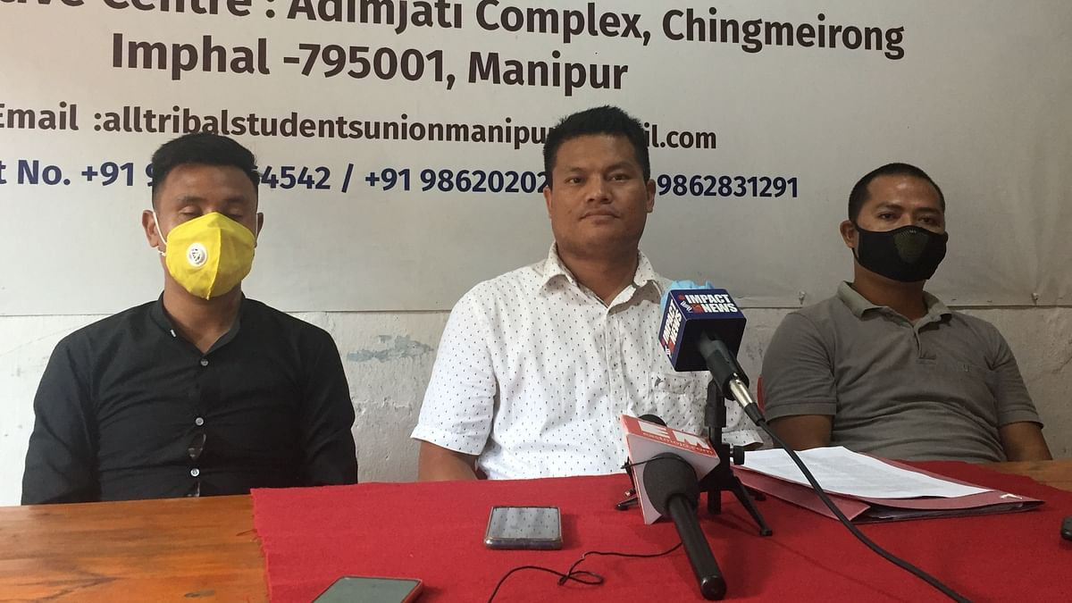 ATSUM general secretary Andria Anal and his team addressing the press persons earlier