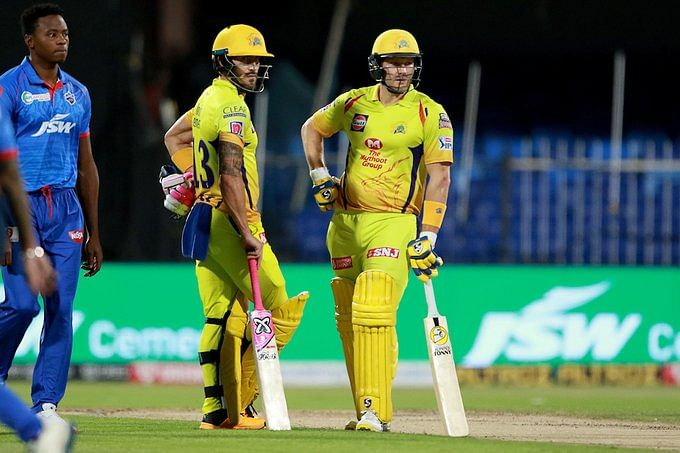 Faf du Plessis(L) and Shane Watson(R) added 87 runs for the second wicket