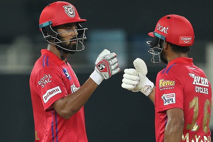 KL Rahul(L) and Mayank Agarwal(R) added 61 runs for the first wicket