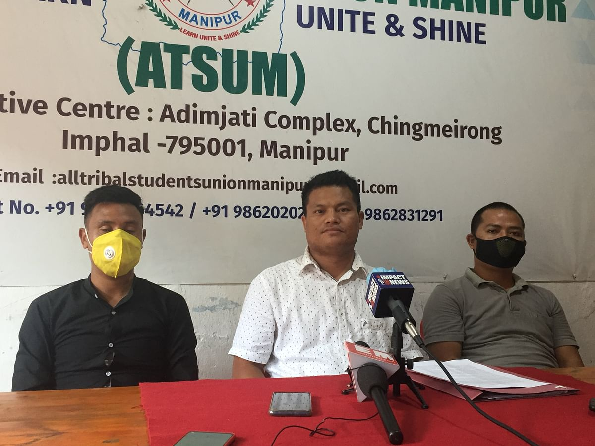ATSUM general secretary Andrea Anal and his team addressing the press persons earlier