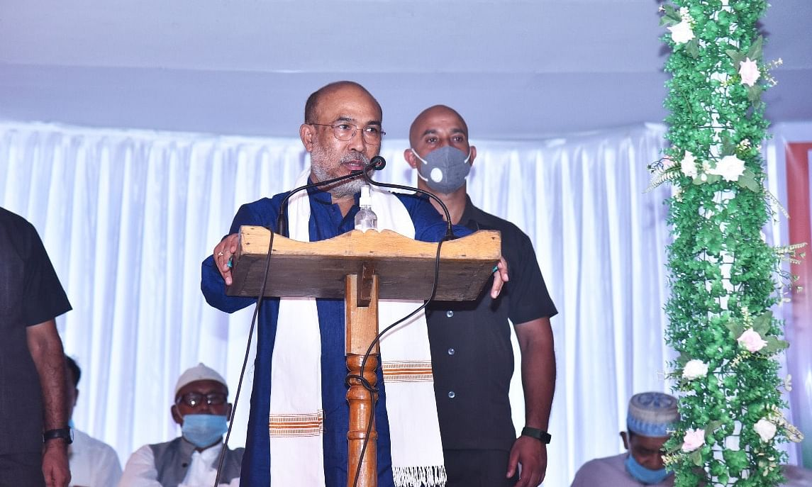 CM N Biren Singh addressing at the floral tribute to Rajarshi Bhagyachandra on his 222nd death anniversary in Imphal on Monday