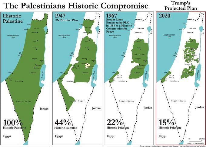 The map shows precisely, in borders, how the historic map of Palestine has altered throughout the Israeli occupation