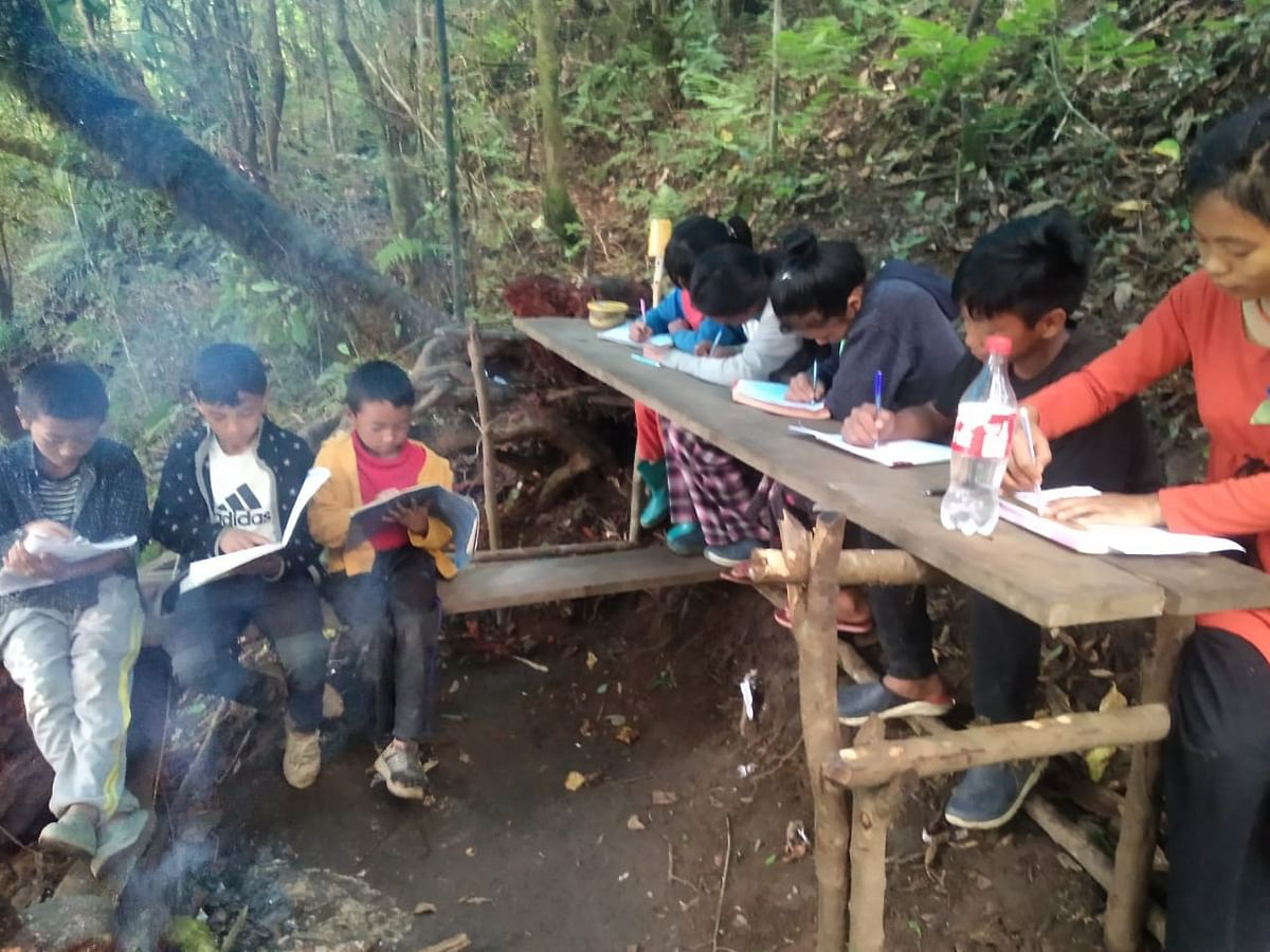 Students in Tsuruhu walked miles to a mountain top to attend online classes