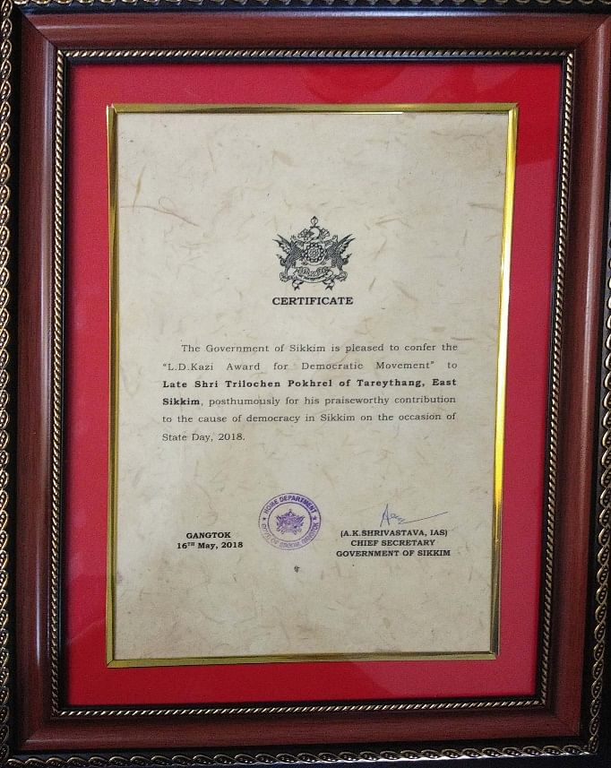 Citation by the government of Sikkim