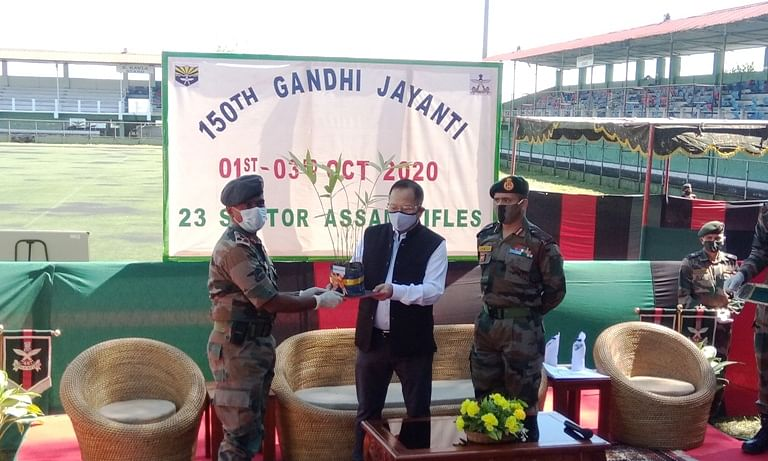 Mizoram home minister Lalchamliana participating in a programme organised by Assam Rifles