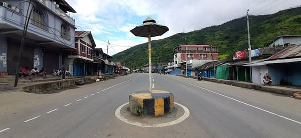 Deserted look at Kangpokpi district in Manipur on Wednesday