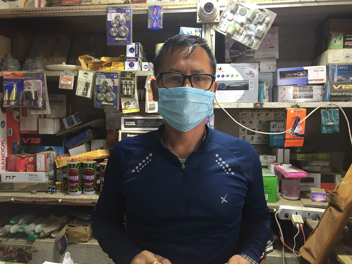 Basant runs an electronic shop at Dewlahland in Imphal
