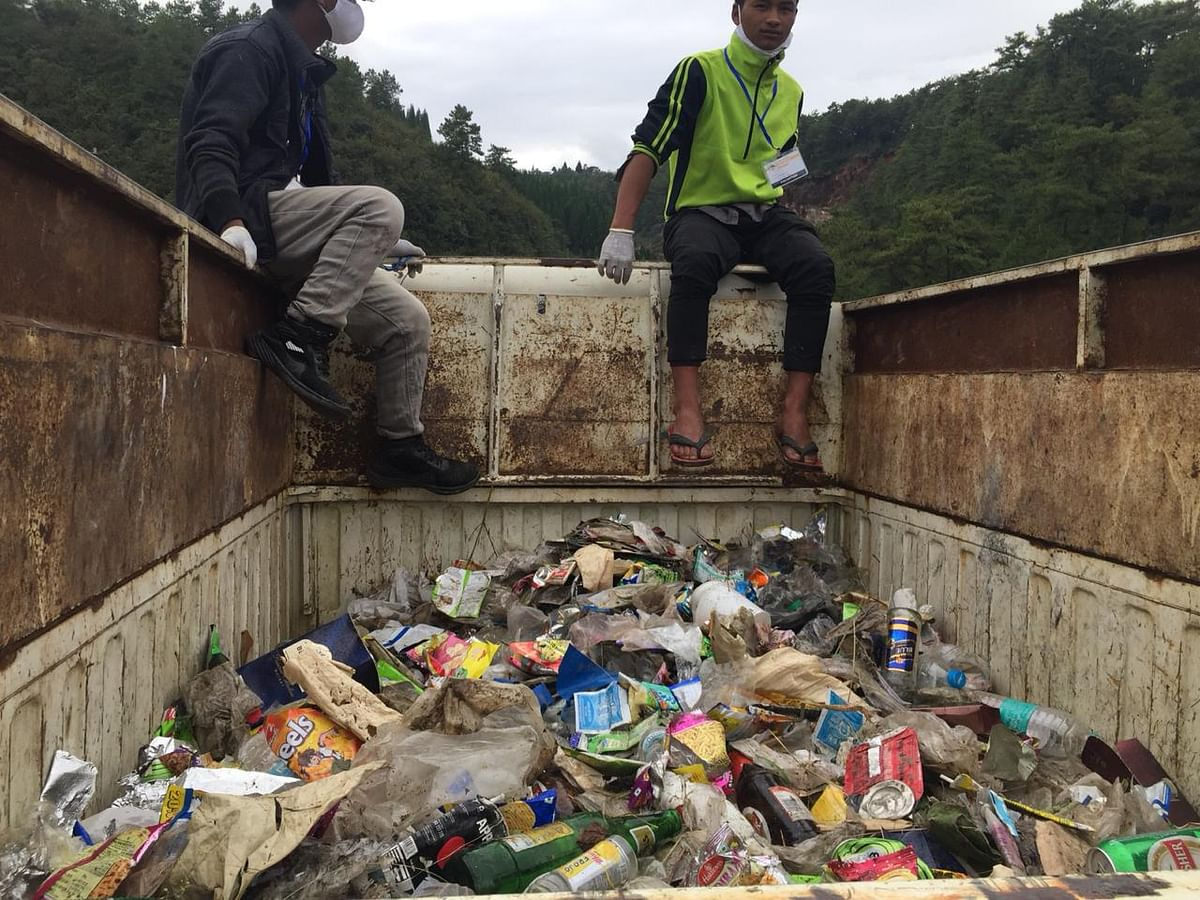 Trash collected during the cleaning drive held on Saturday