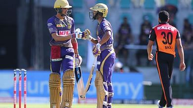 Shubhman Gill(L) and Rahul Tripathi(R) gave KKR a decent start as they added 48 runs the powerplay