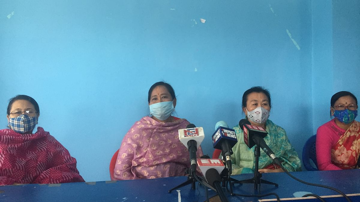 Women vendors at Ima Keithel during a press conference on Thusrday in Imphal