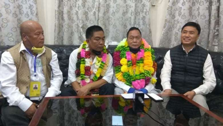 BJP candidate Ngamthang Haokip after winning from Saitu AC by-poll on Tuesday