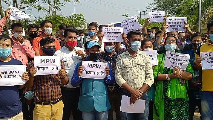 Tripura: Unemployed youths stage protest, demand recruitment as multi-purpose workers