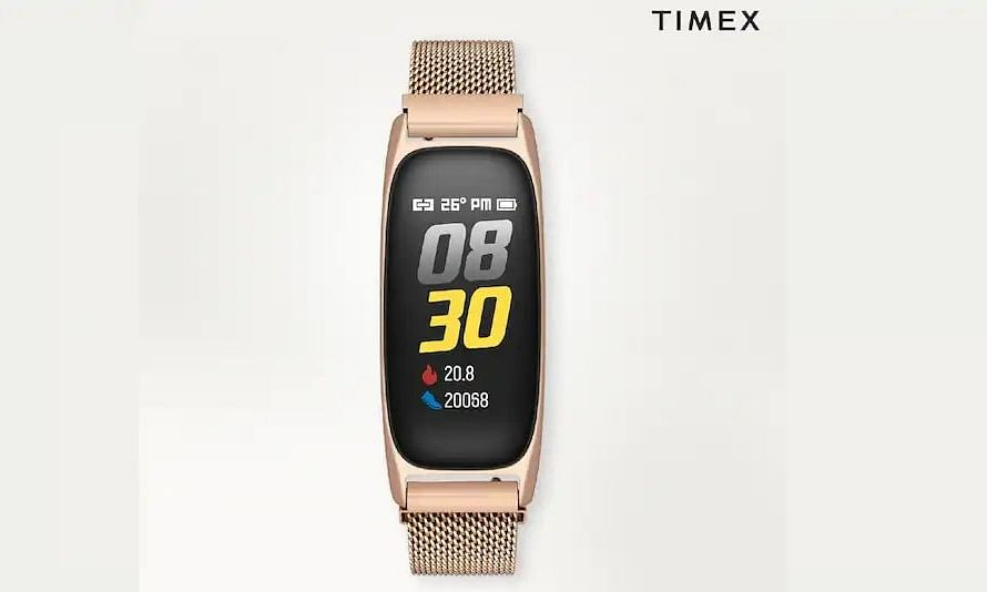 The Timex Fitness Band is available in rose gold and black colour options with a stainless steel mesh band, and also in black with a silicone strap
