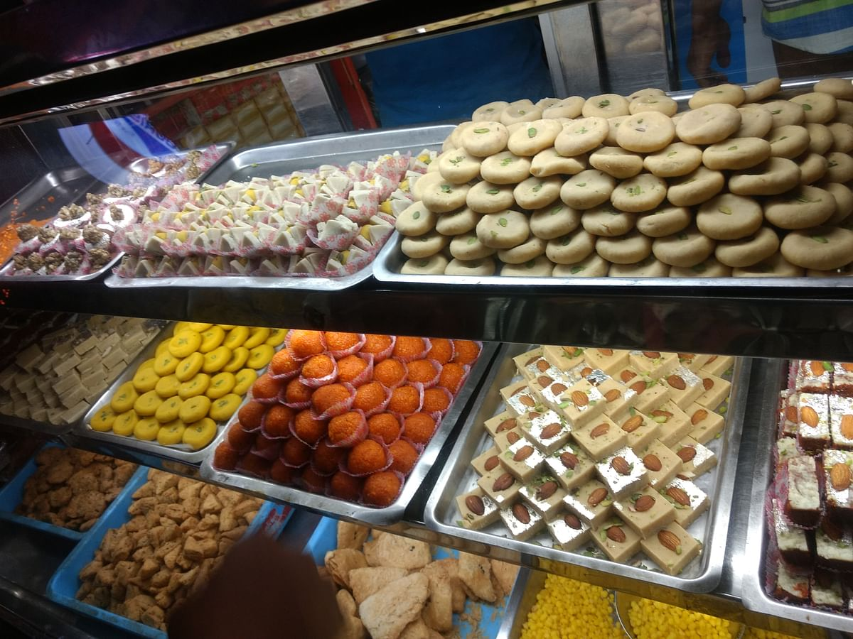 Located just by the main road, Kanha G sweets attracts a lot of attention