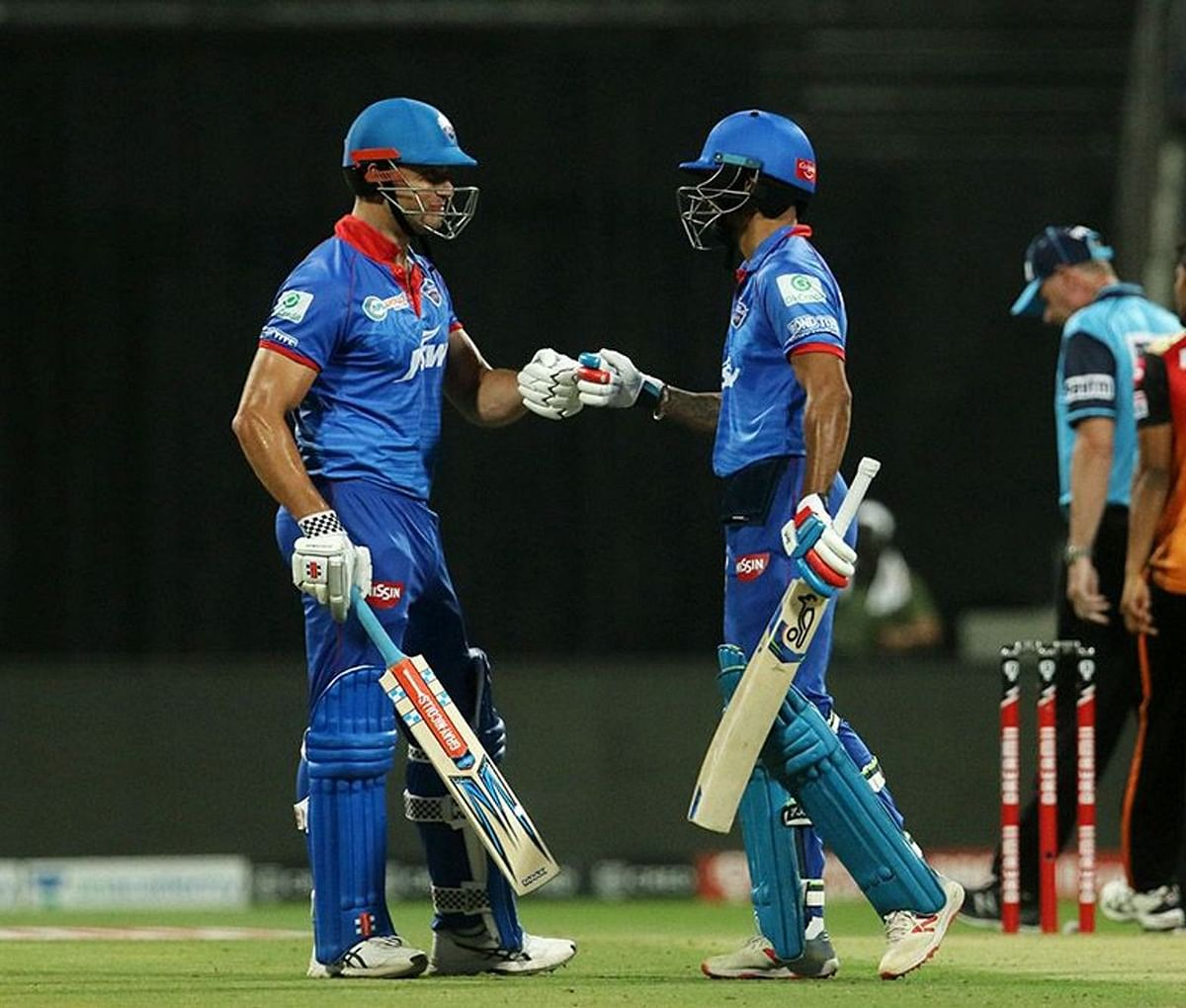 Shikhar Dhawan(R) and Marcus Stoinis(L) added 86 runs for the first wicket in just 50 balls