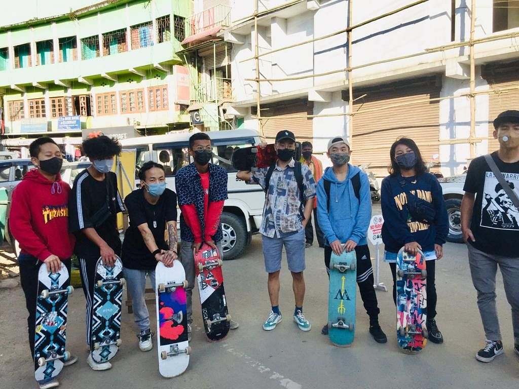 Young skaters pose for lens during the day-long pop up street space in Kohima