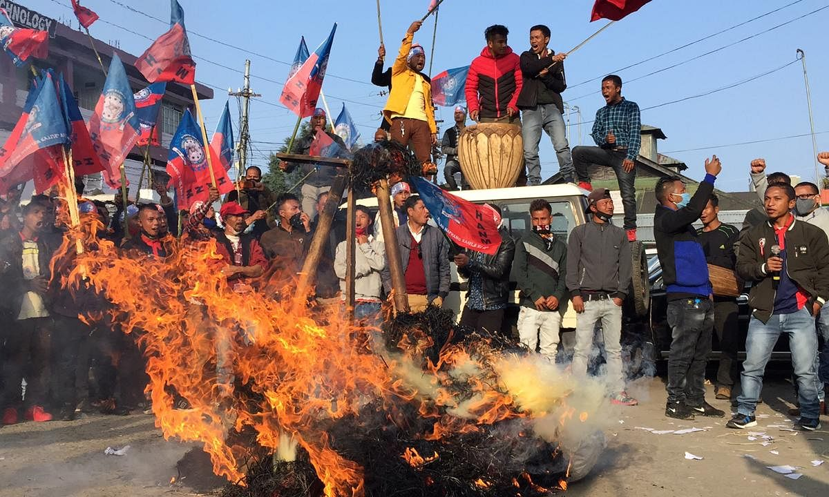 Effigies of PM Modi and Amit Shah was burnt during protest in Shillong held by CoMSO