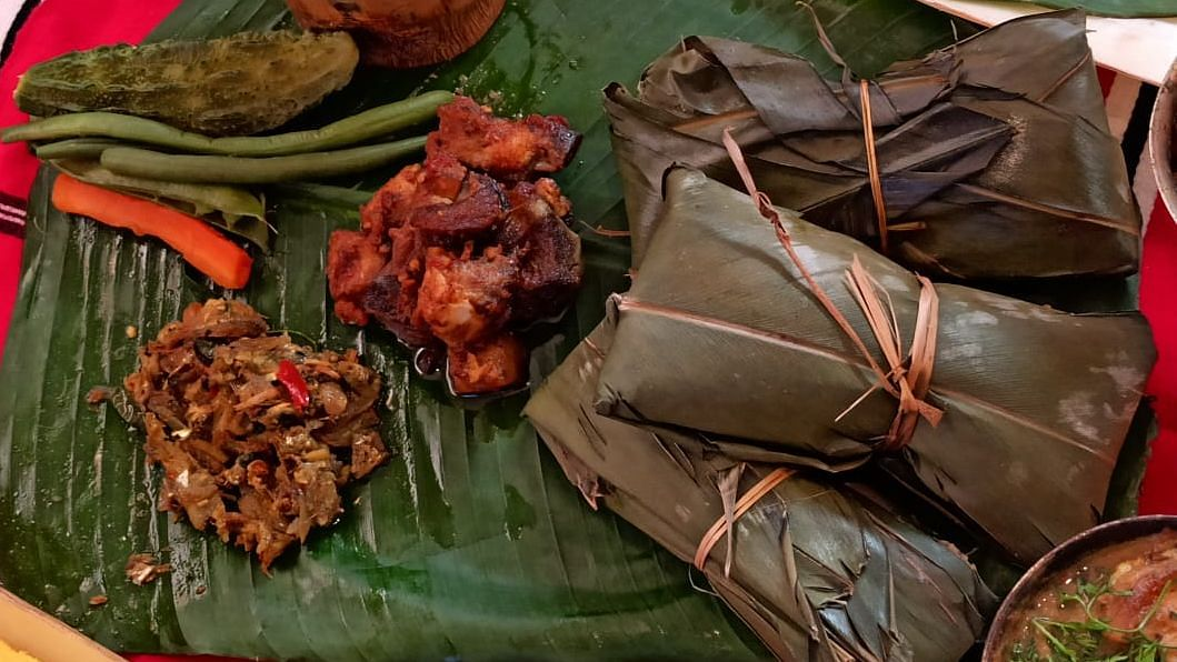 Tupula Bhat along with an array of side dishes