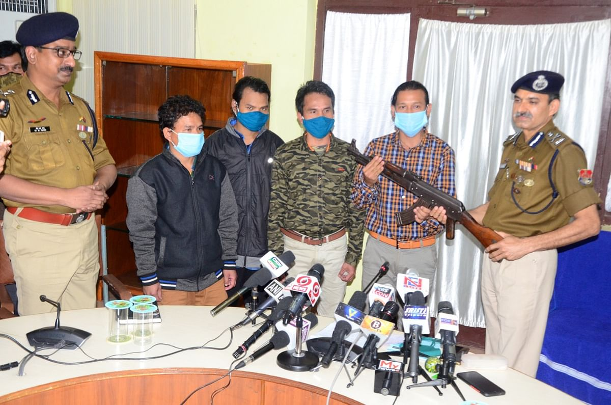 Arms and ammunitations recovered from the ultras by the Tripura police