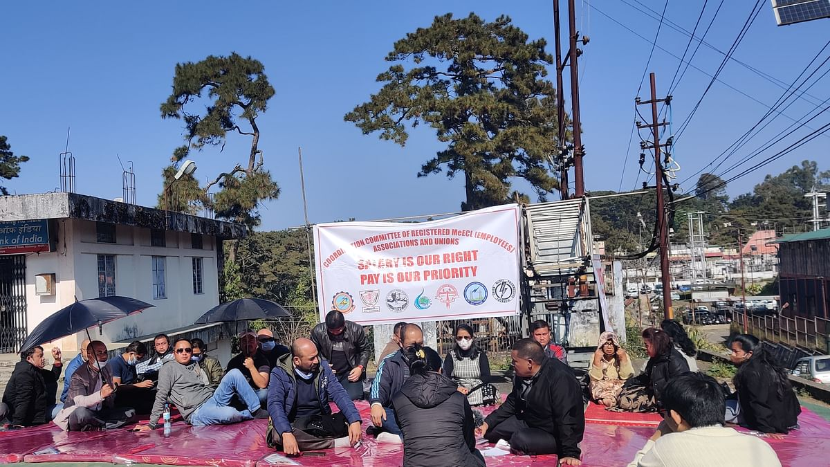 Meghalaya: Electricity board employees on hunger strike due to non-payment of salaries
