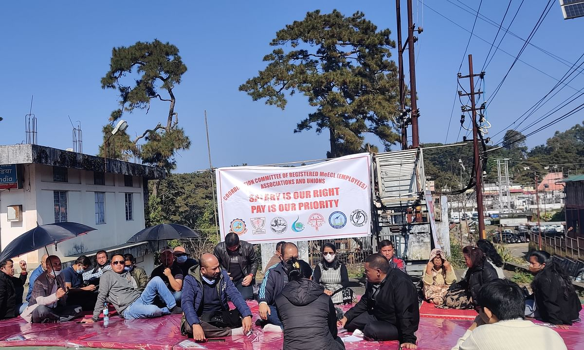 Coordination Committee of Registered MeECL (employees) Associations and Unions sit on hunger strike on Wednesday in Shillong