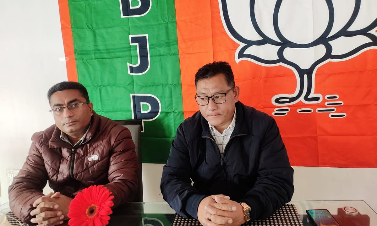 Sikkim BJP addressing the media in Gangtok