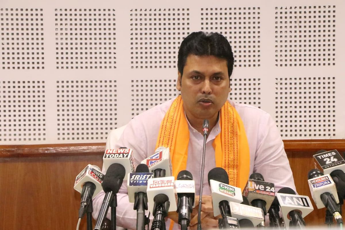 Tripura chief minister Biplab Kumar Deb with state BJP in-charge, Vinod Kumar Sonkar (left) in Agartala on December 5 last.
