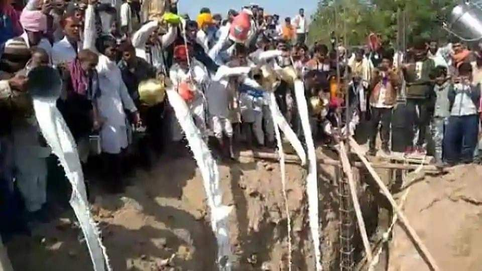 Rajasthan: 11,000 litres of milk, curd, ghee poured into temple foundation pit
