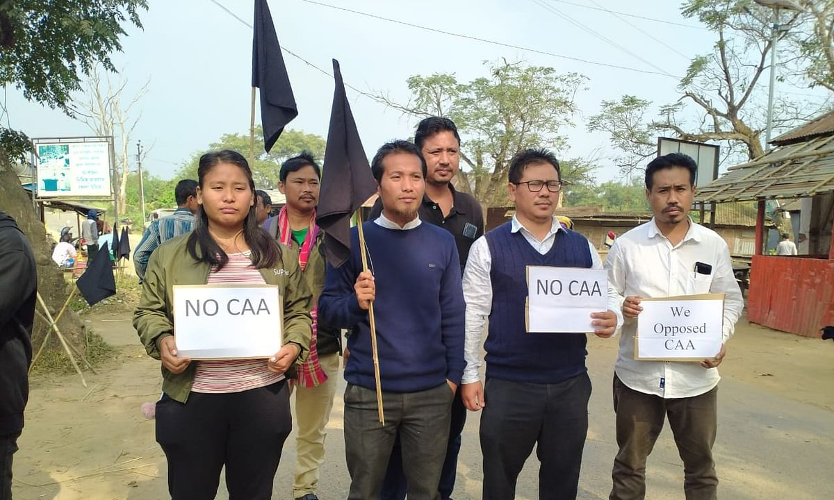 Members of the Twipra Students Federation observe black day against Citizenship Amendment Act (CAA) in Takarjala on Friday