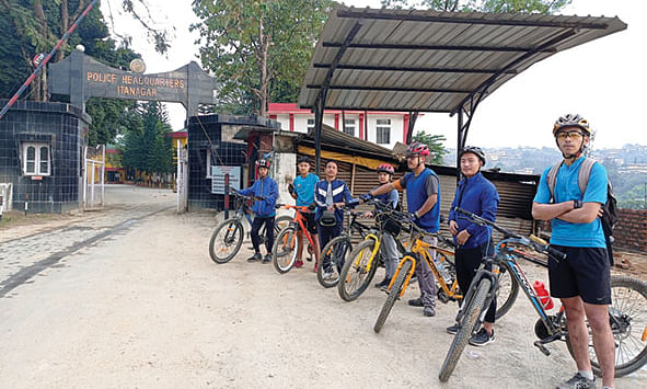 Participants of the first Cross Country Uphill MTB race in Itanagar