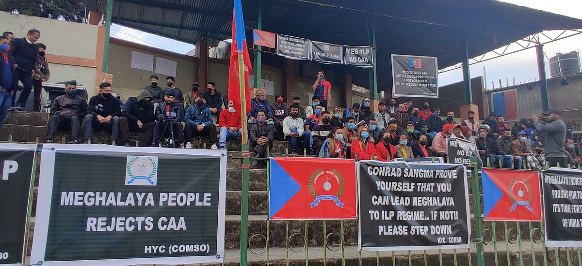 CoMSO staged a sit-in demonstration at Malki Ground, Shillong