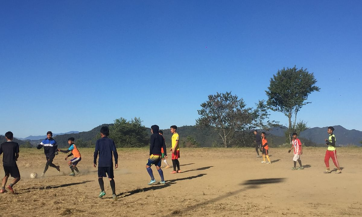 Youngsters are being trained on football in Ukhrul district