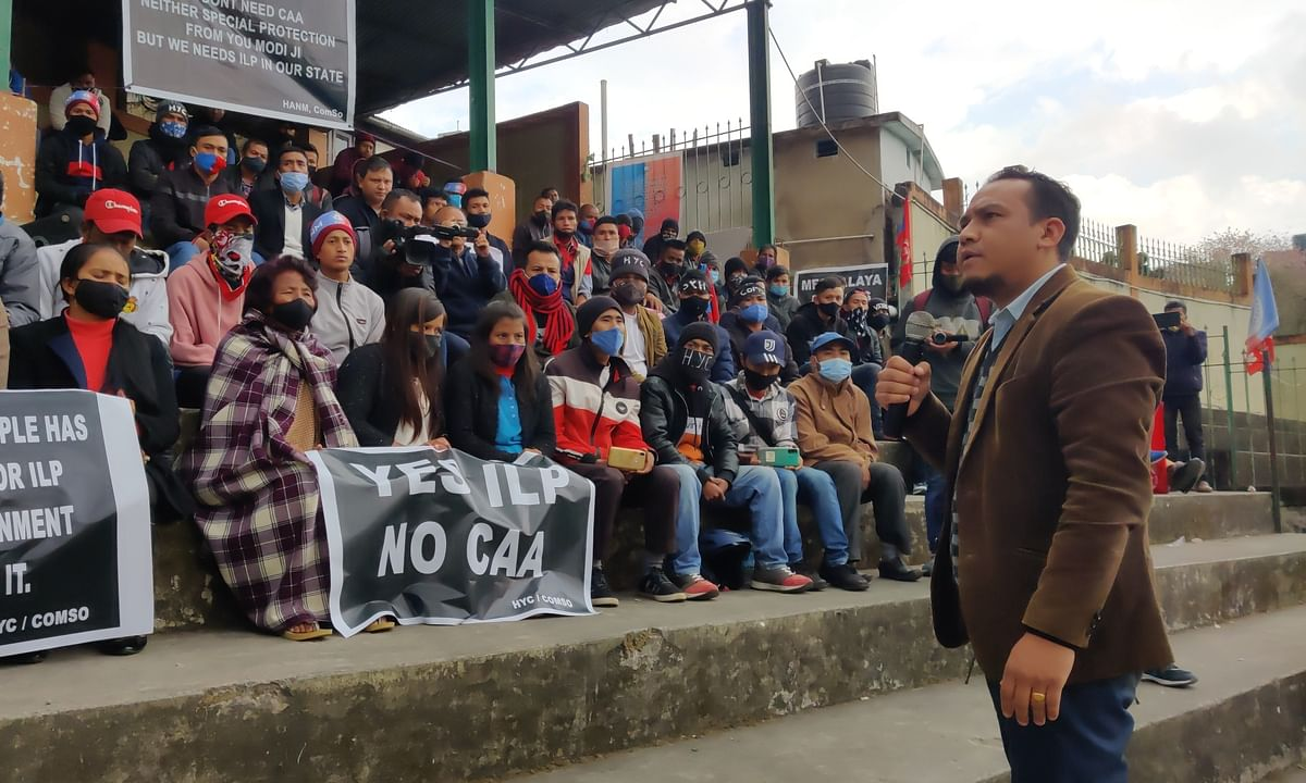 CoMSO Chairman Robertjune Kharjahrin during sit-in demonstration held in Shillong