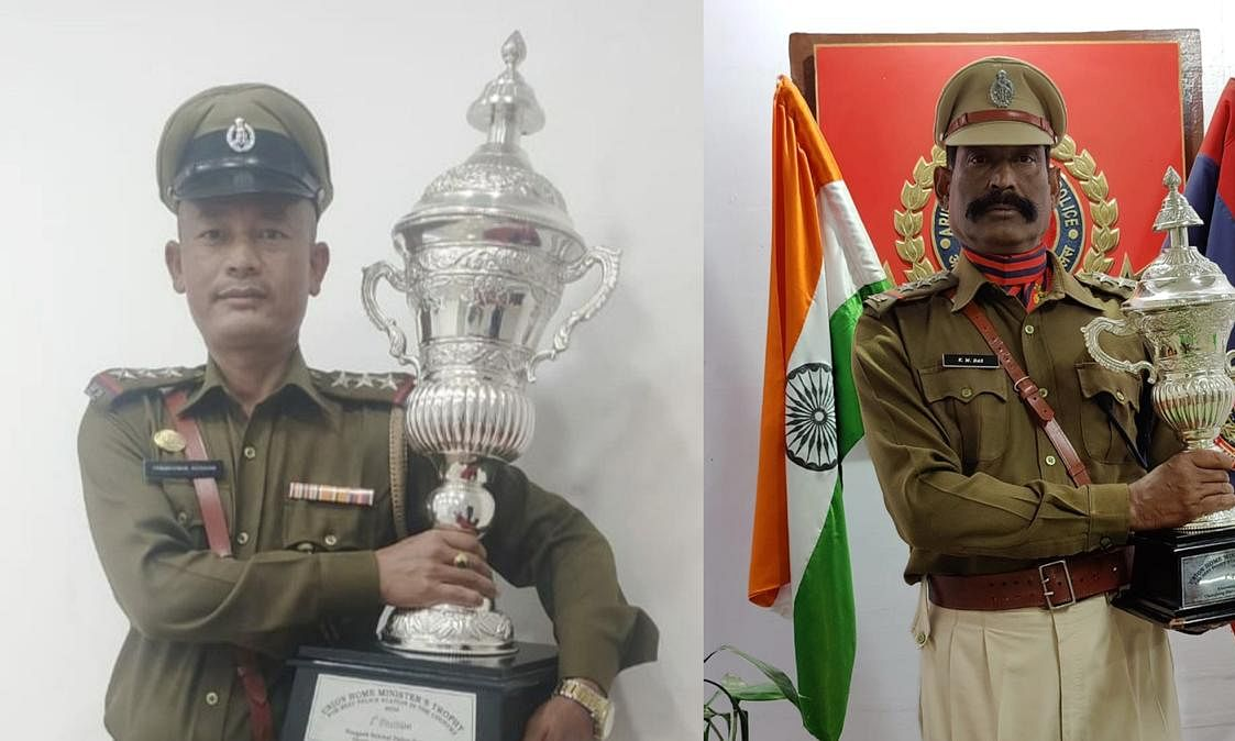 From left: Winning police station in-charge from Manipur and Arunachal holding the trophy