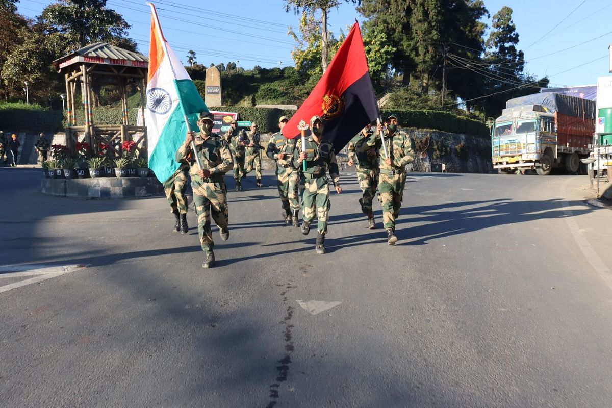 BSF personnel during the run in Kohima