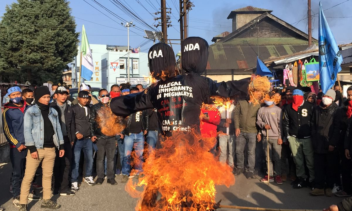Effigies of NDA and controversial CAA burnt by pressure groups in Shillong