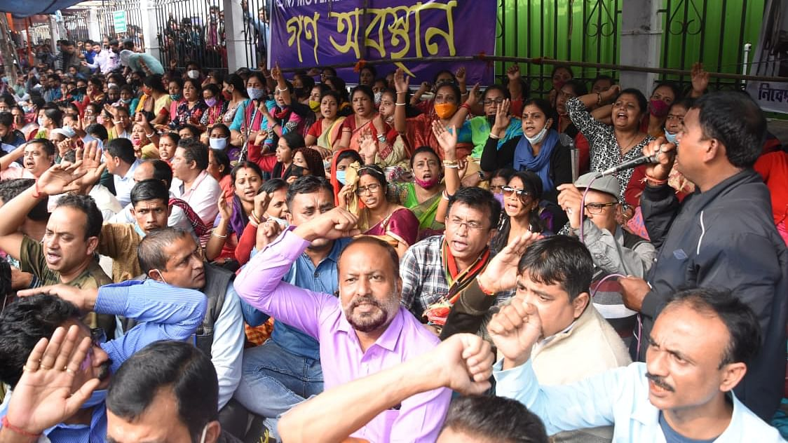 Watch: Terminated teachers of Tripura continue protest amid cold weather