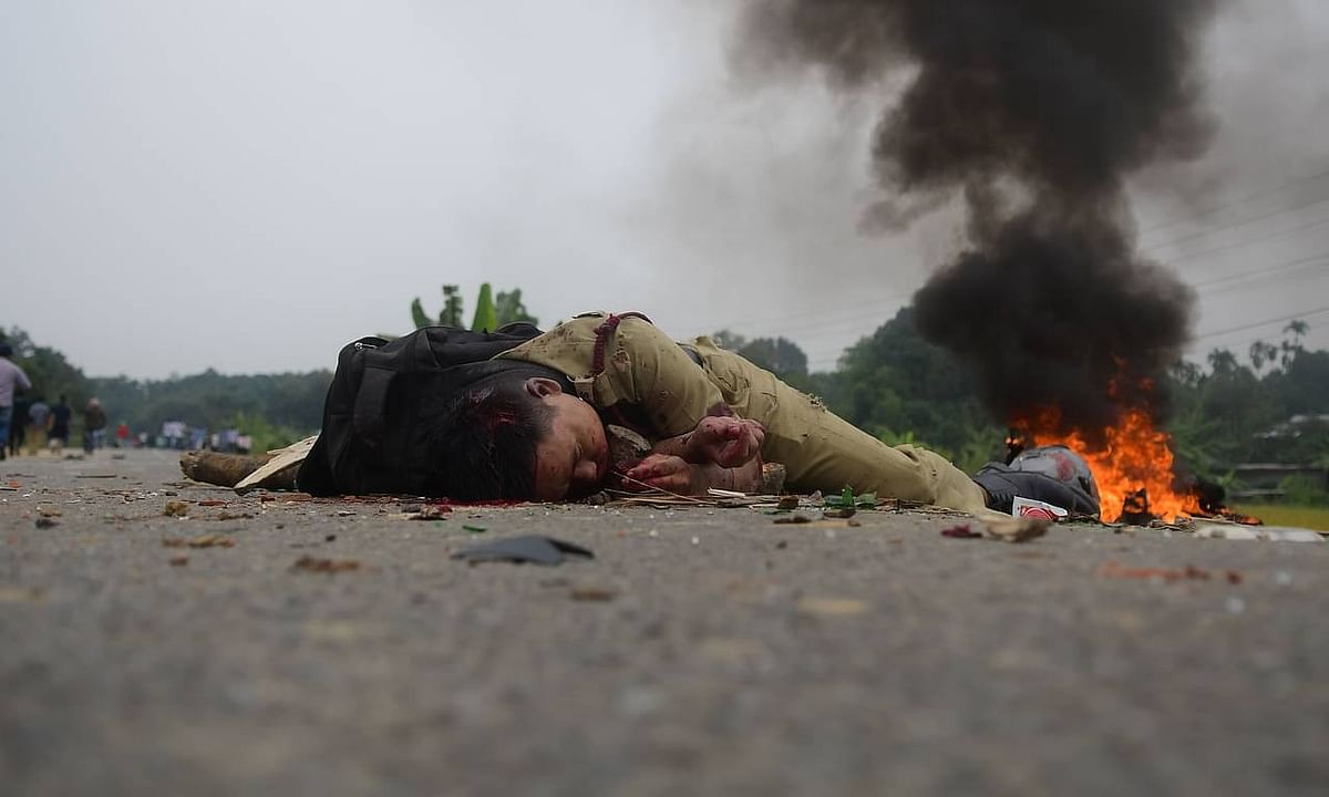 A fireman lying on national highway 8 in Panisagar after being lynched by the angry mob on November 21 last