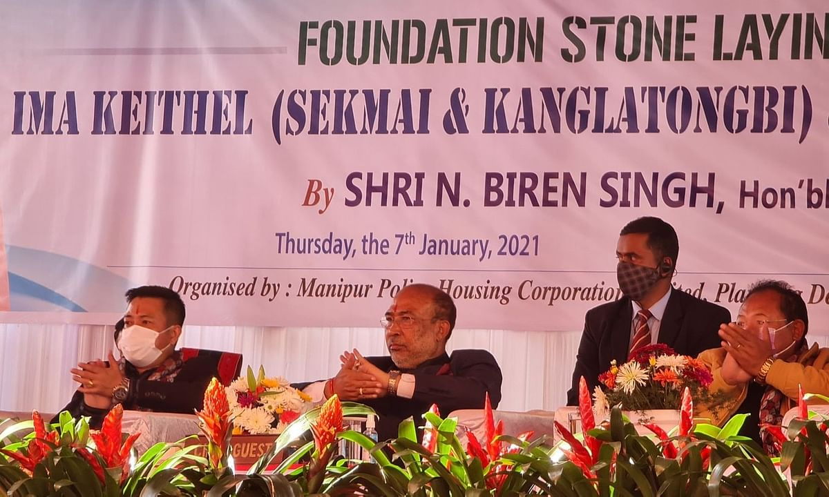 CM Biren Singh laid foundation stone for two Ima markets in Imphal on Thursday