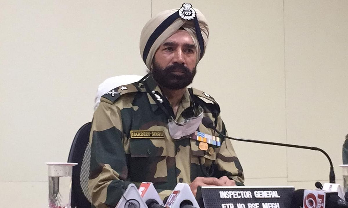 Hardeep Singh (IG) BSF, Meghalaya Frontier during a briefing on Friday