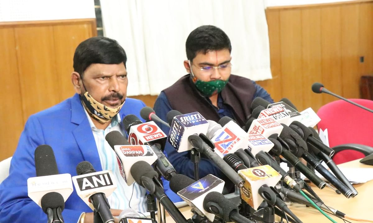 Ramdas Athawale addressing a press conference in Agartala on Monday
