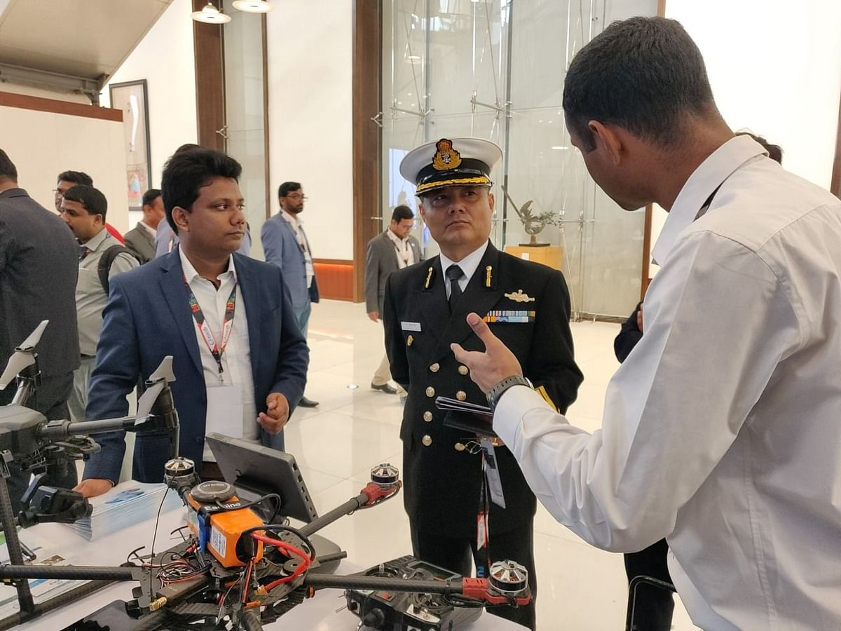 Surveillance drone prototype and further advantages being presented to top defence officials