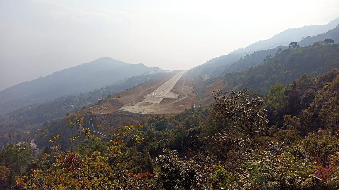 Greenfield Airport in Pakyong as seen from above Pakyong town