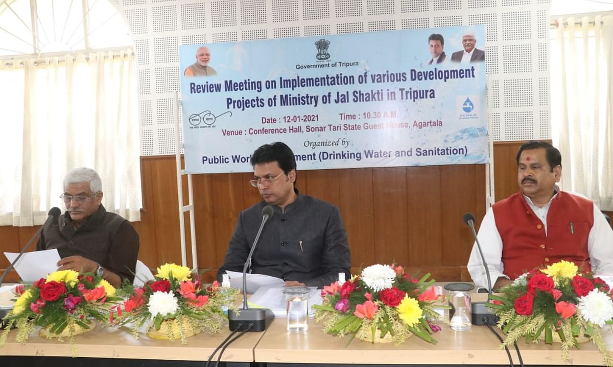 Union minister for Jal Shakti, Gajendra Singh Shekhawat holding a review meeting along with Tripura chief minister Biplab Kumar Deb