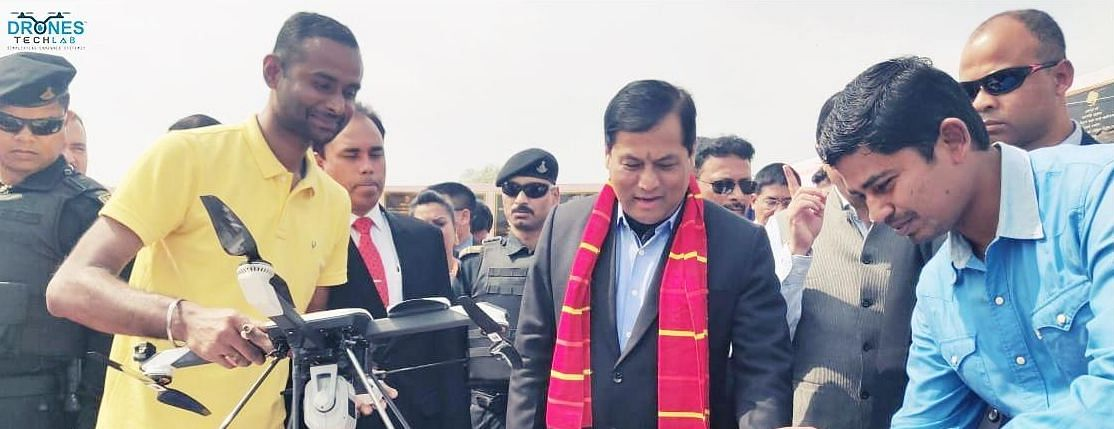 Assam CM Sarbananda Sonowal initiating the first flight for deploying Drone Tech Lab's UAV solutions for river erosion control measures