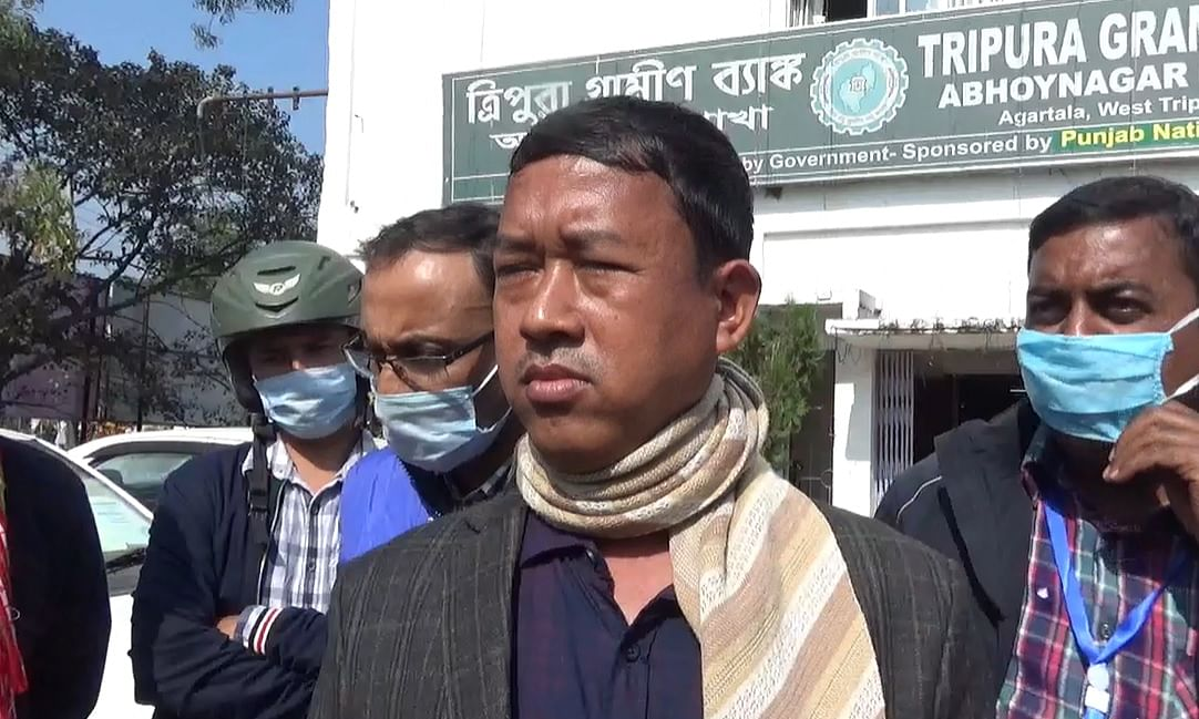 Delegation of terminated teachers outside Tripura Gramin Bank head office in Abhoynagar on Monday